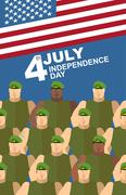 4th july. American independence day. Soldiers in Green Berets. Special forces - stock illustration