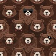 Seamless pattern of brown angry bear. A flock of evil and scary bears. Vector - stock illustration