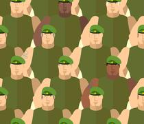 Soldiers in Green Berets. Special forces. Army seamless background of people. - stock illustration