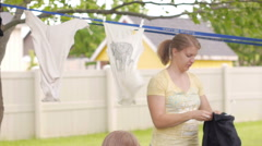 Drying clothes outside Stock Footage