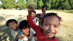 Happy smiling local children posing for camera. Myanmar (Burma) Stock Footage
