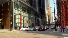 Road traffic on West Adams street near Federal Plaza. Chicago. Stock Footage