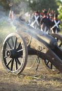 Napoleonic artillery in action - stock photo
