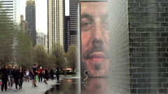 Crown Fountain  in Chicago's Millennium Park. Stock Footage