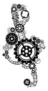 Treble clef made of gears. - stock illustration
