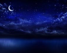 beautiful night sky in the open sea - stock illustration