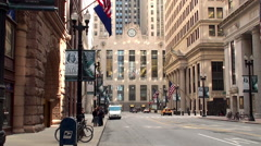 Chicago Board of Trade Building at the foot of LaSalle Street. - stock footage