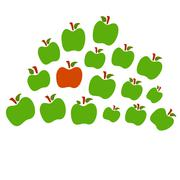 Isolated apples one red the other green - stock illustration