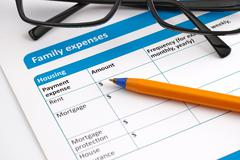 Family expenses application form - stock photo