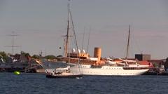 The Danish Royal Yacht, Dannebrog, in the port of Copenhagen Stock Footage