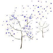 The Art tree with blue leaves fall - stock illustration
