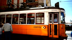 Portugal Lisbon Lisboa old town downtown Traffic Tram Cable-Car Street-Car Stock Footage