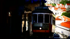 Portugal Lisbon Lisboa old town downtown Traffic Tram Cable-Car Street-Car - stock footage