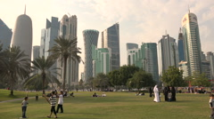 Families and friends visit the Central Park in Doha, Qatar - stock footage