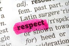Dictionary definition respect Stock Photos
