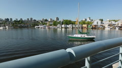Morning Paddlers False Creek dolly shot Stock Footage