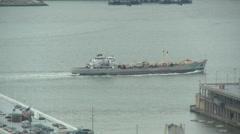 Hudson River Cargo Ship Exits - stock footage