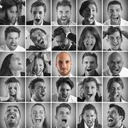 Collage of people yelling and one smiling Stock Photos