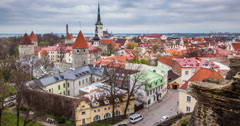 4k Timlapse of aerial view of Tallinn Medieval Old Town, Estonia - stock footage