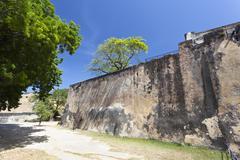 Walls of the historic Fort Jesus in Mombasa, Kenya - stock photo