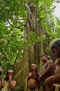 Huaorani tribe in the amazon rainforest, Yasuni National Park, Ecuador Stock Photos