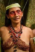 Portrait of Huaorani woman in the amazon rainforest, Yasuni National Park Stock Photos
