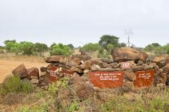 Road sign giving directions in Tsavo East National Park, Kenya - stock photo