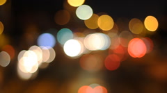 Defocused urban abstract texture ,blurred background with bokeh of city lights - stock footage
