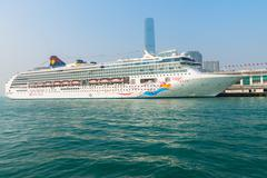Luxury cruise liner, the Superstar Virgo from Star Cruises, Hong Kong, China - stock photo