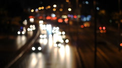 Defocused urban abstract texture ,blurred background with bokeh of city lights Stock Footage