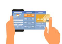 Mobile app for booking air passage - stock illustration