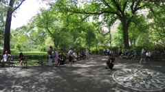 The Memorial to John Lennon in Central Park Stock Footage