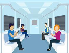 People are using gadgets in the subway - stock illustration