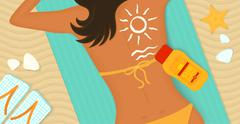 Young girl sunbathes on a beach Stock Illustration
