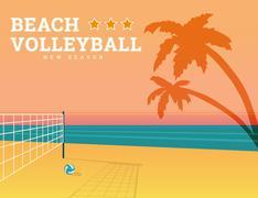 Beach volleyball season - stock illustration