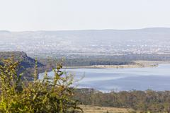 Lake in Nakuru National Park seen from an observation point in Kenya with vie Stock Photos