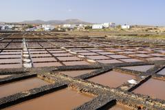 Evaporation ponds for sea salt production Stock Photos