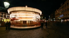 Carousel at Night Timelapse - stock footage