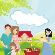 Family having barbecue in the garden - stock illustration