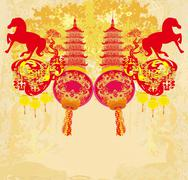 Chinese Mid Autumn festival and New year design element - stock illustration