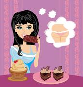 Stock Illustration of girl eats sweets
