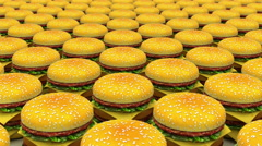 Infinity motion hamburgers fast food background Stock Footage