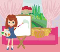 Stock Illustration of Little artist girl painting landscape from the window