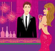 Bartender at the club and beautiful woman Stock Illustration