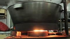 Metal big pan on fire Stock Footage