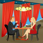 Man and woman sitting in restaurant Stock Illustration