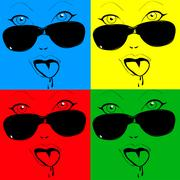 Any colored girl faces the glasses in pop-art style - stock illustration