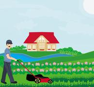 Illustration of a man mowing the lawn Stock Illustration