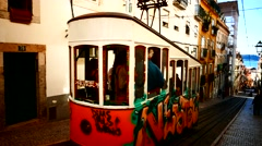 4K Portugal Lisbon Lisboa old town downtown Traffic Tram Cable-Car Street-Car Stock Footage
