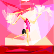 Stock Illustration of gymnast in a red bathing suit